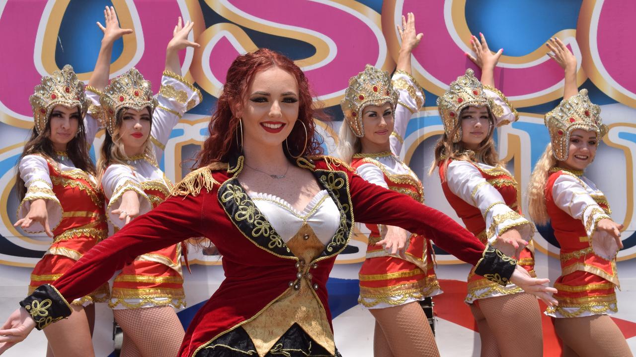 SHOWSTOPPERS: (L-R) Tahlia Weber, Tianni Weber, Taylah Harrington, Tatianna Edgley, Tanika Weber and Anastasiia Hrekalo at the Great Moscow Circus, November 19