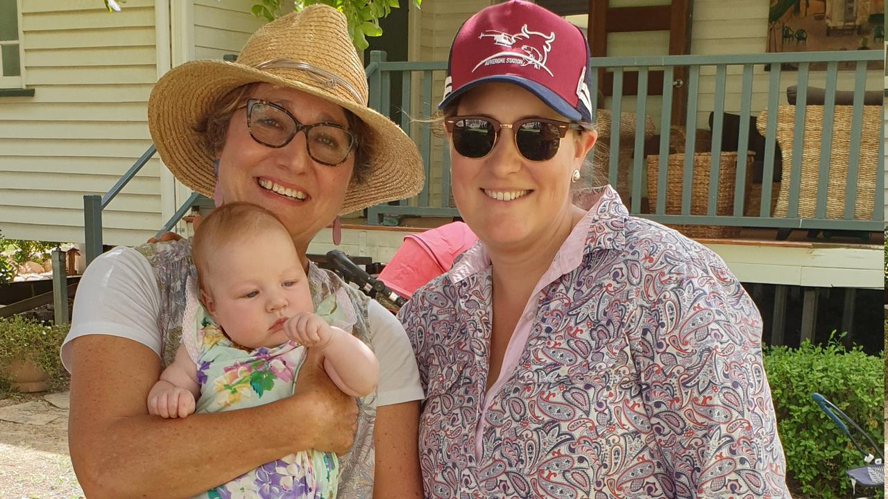 GORGEOUS SURROUNDS: Sarah Parry-Okeden with Amy and Ava Bryant at the Leichardt Garden Club's Christmas break-up.