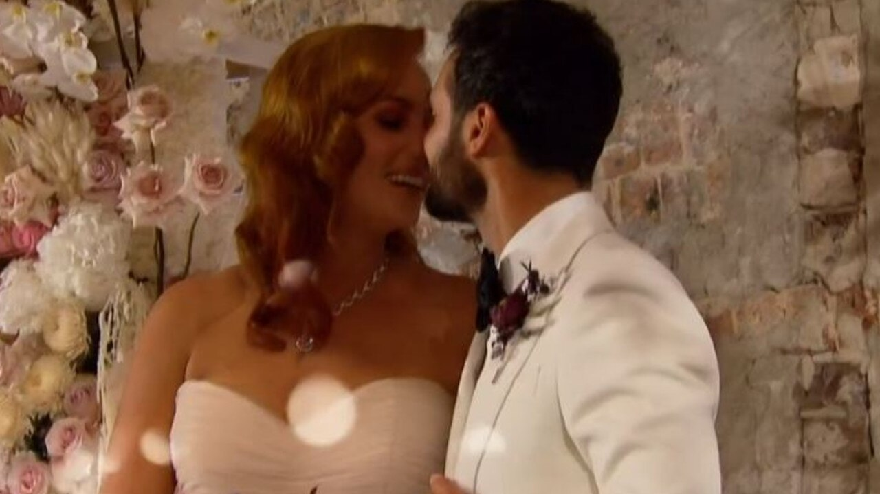 From the menu tasting to the dress fitting – every element of Cam and Jules' wedding was shared. Picture: Channel 9.