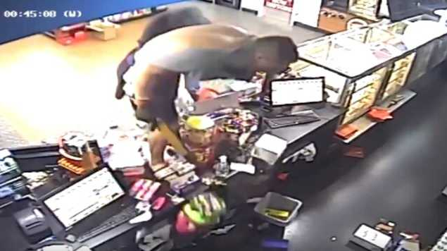 Footage captured shirtless man in terrifying servo robbery