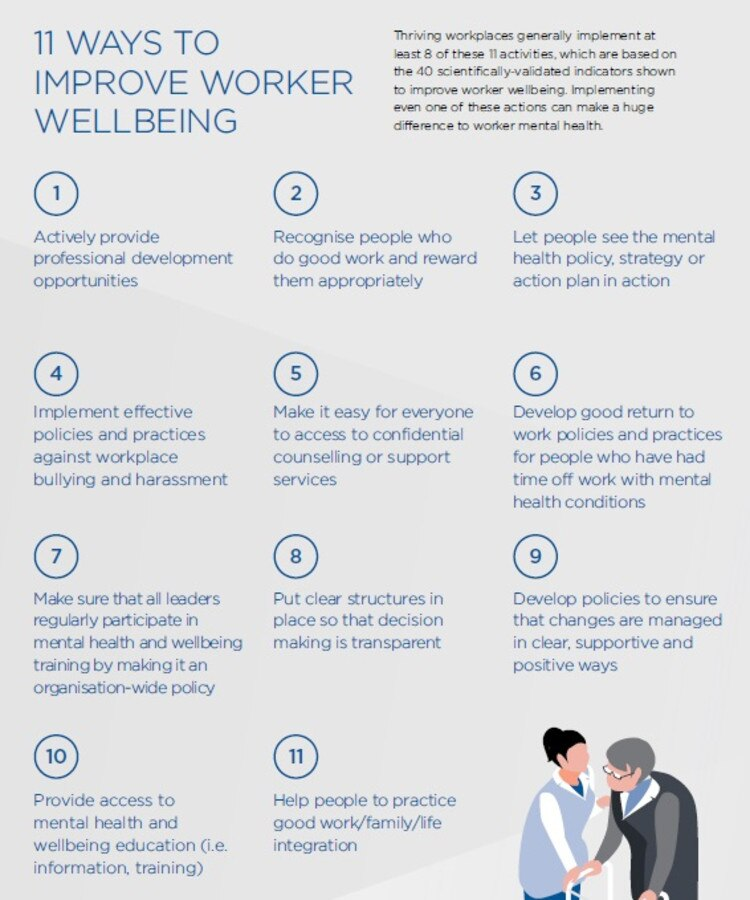 Superfriend's report includes 11 ways to improve mental wellbeing at work.