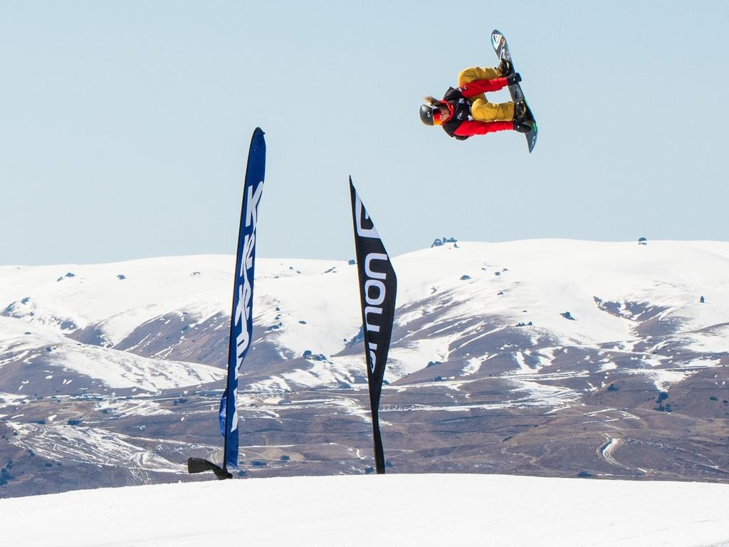 Yaroomba surfer turned snowboarder Jesse Parkinson getting some air.