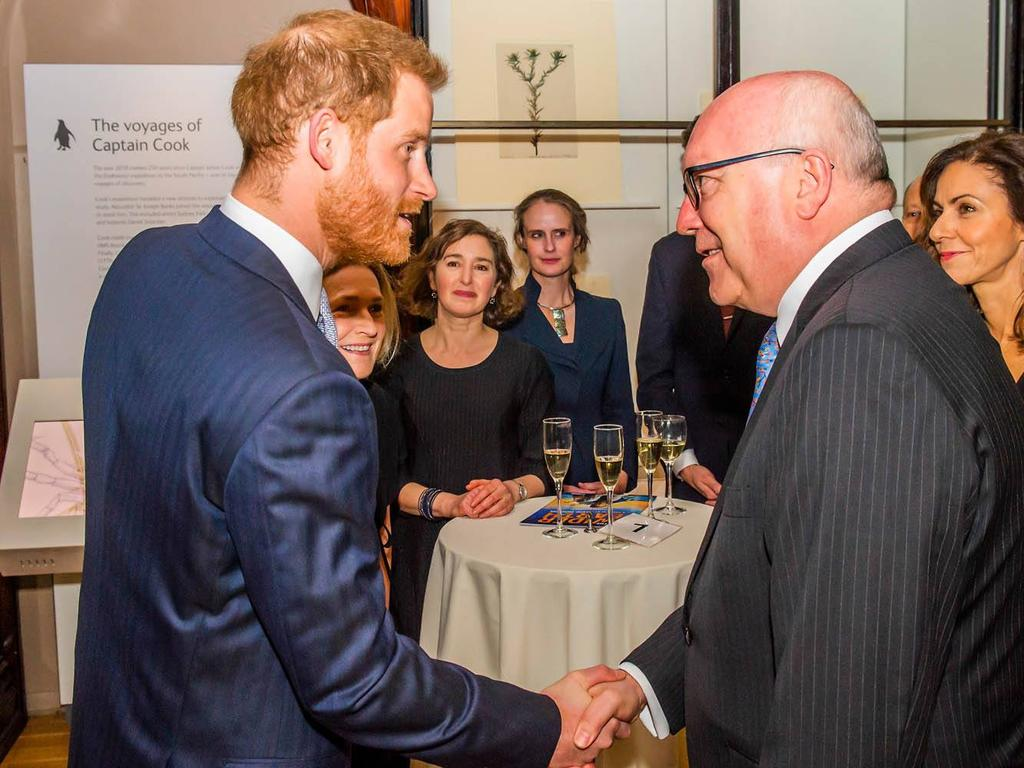 Prince Harry meets Australian High Commissioner George Brandis at the Natural History Museum, London. Picture: Facebook