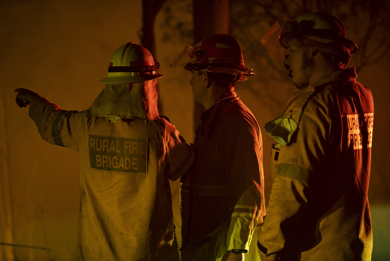 Firefighters assess the scene at the Pechey bushfire.