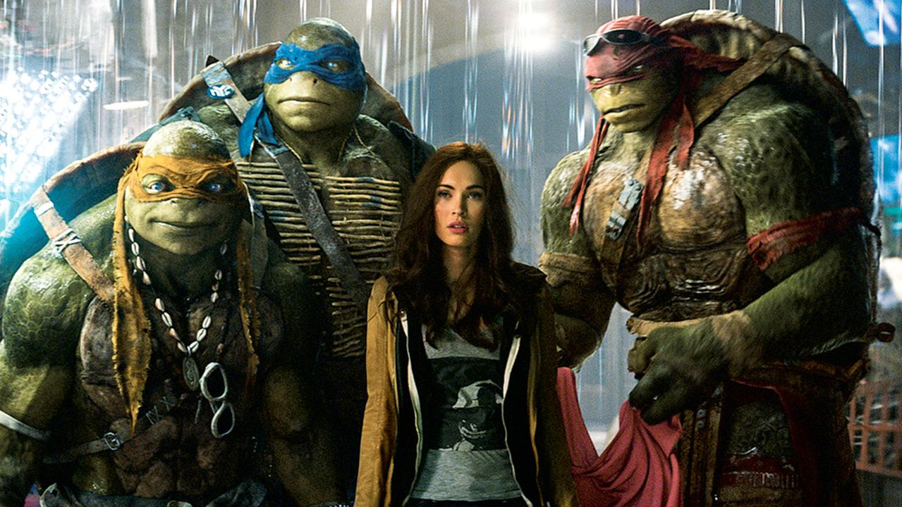 Ritchson played Raphael (at right) alongside Megan Fox in the franchise. Picture: Paramount Pictures / Nickelodeon Movies