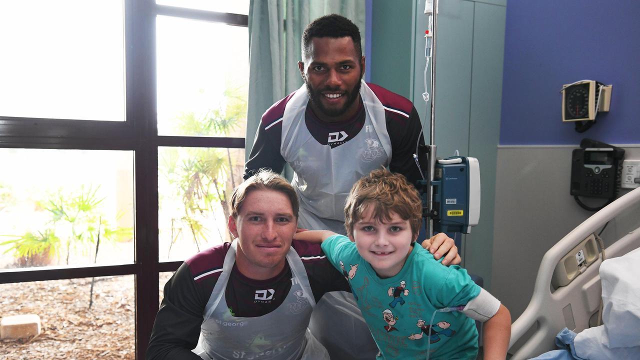 Reds Hospital Visit - Reds players Tate McDermott and Filipo Daugunu visited Daniel Bellert at Hervey Bay Hospital. Photo: Cody Fox