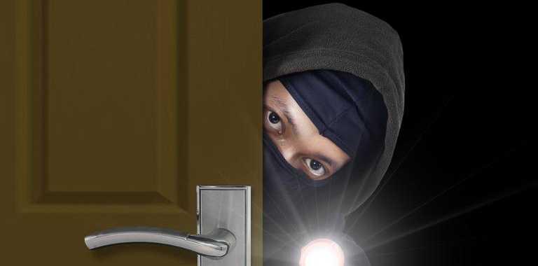 Burglar sneaking through door