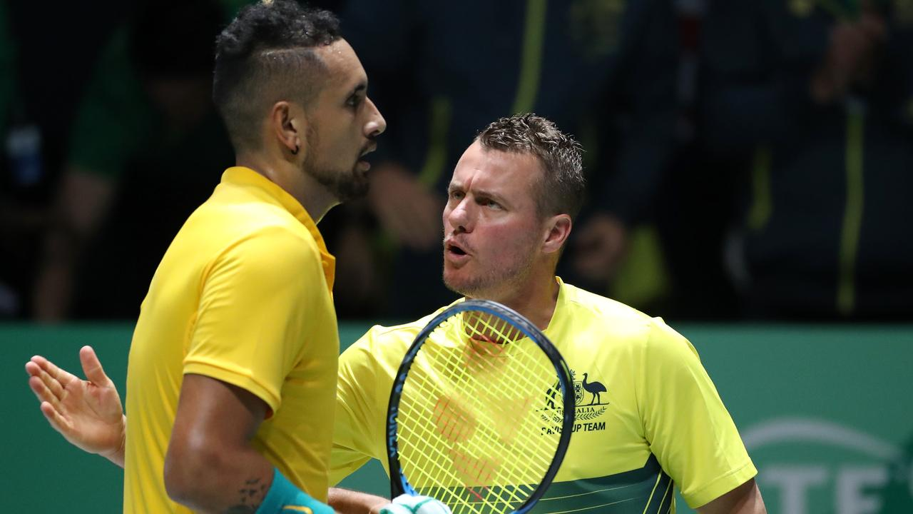 MADRID, SPAIN - NOVEMBER 19: Lleyton Hewitt, Captain of Australia talks to Nick Kyrgios of Australia during Day 2 of the 2019 Davis Cup at La Caja Magica on November 19, 2019 in Madrid, Spain. (Photo by Alex Pantling/Getty Images)