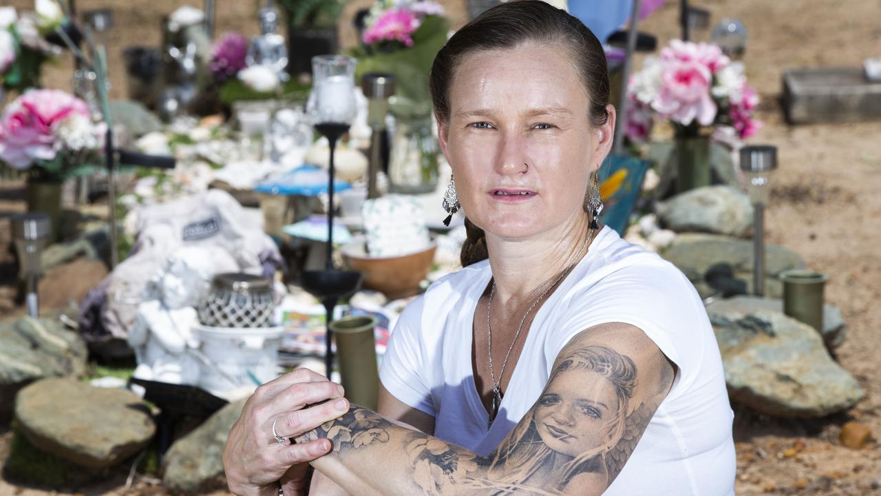 Melissa Wilkinson is a grieving mother who's 16yo daughters grave was vandalised at Redcliffe Cemetery. Photo: AAP /Renae Droop