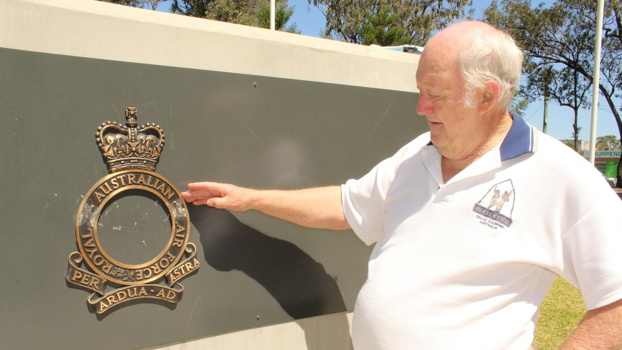 csh burpengary war memorial vandalised Trevor Rackley from the Burpengary Community War Memorial Committee with the RAAF plague that was damaged by vandals at the weekend. PICTURE: ALAN QUINNEY