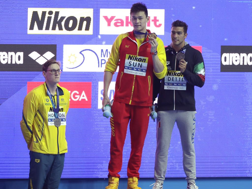 Aussie star Mack Horton refused to share the podium with Sun Yang at this year's World Championships.