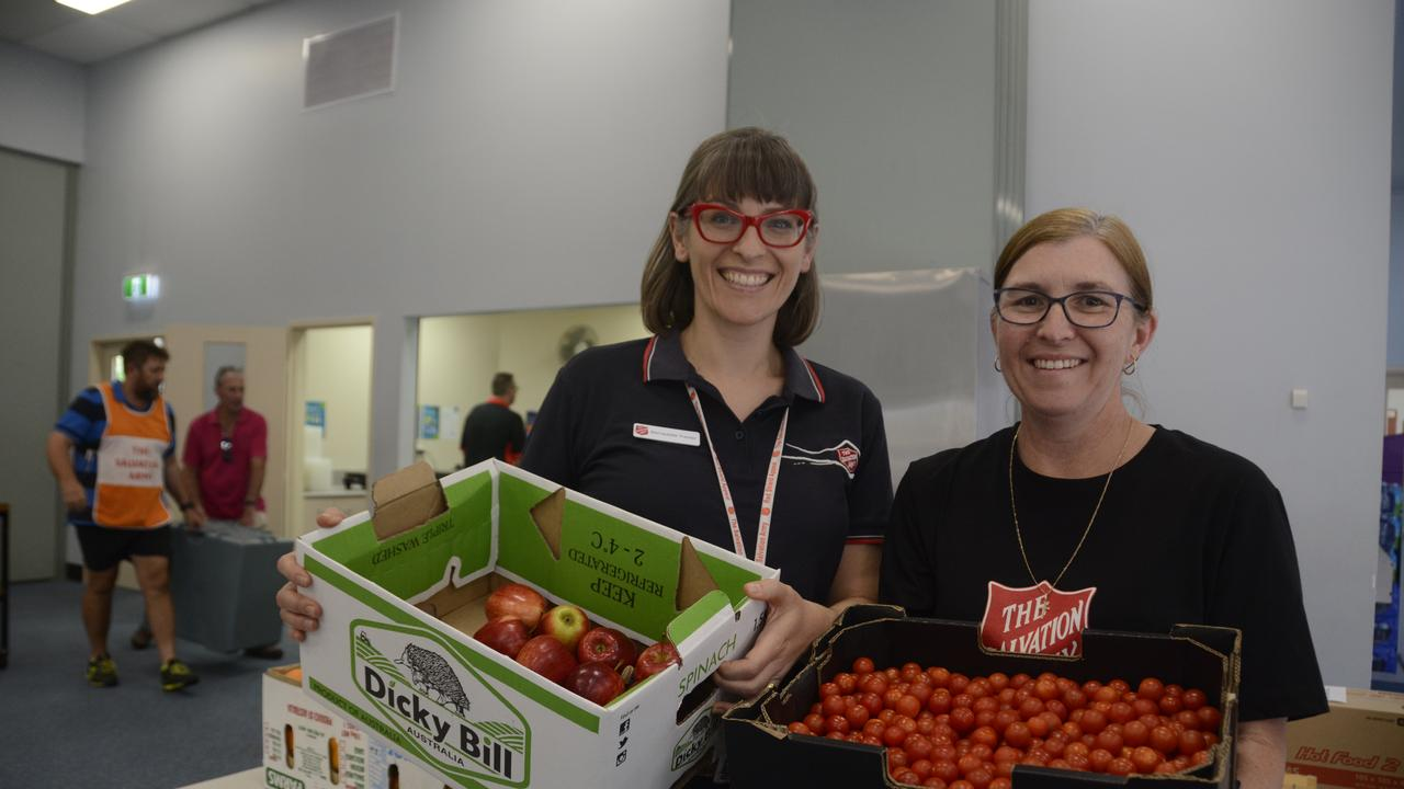 Toowoomba Salvation Army Captain Darlene Murray and secretary Bernadette Tranter are heading the food drive to feed firefighters are Crows Nest.