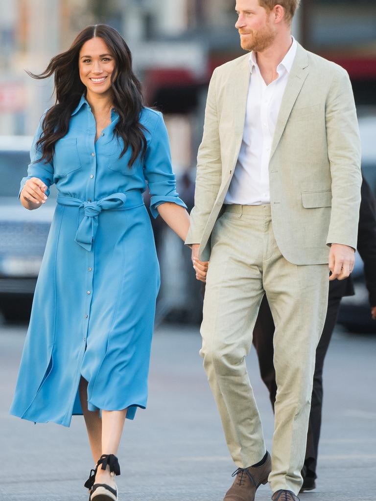 Meghan, Duchess of Sussex and Prince Harry during their royal tour of South Africa. Picture: Samir Hussein/WireImage