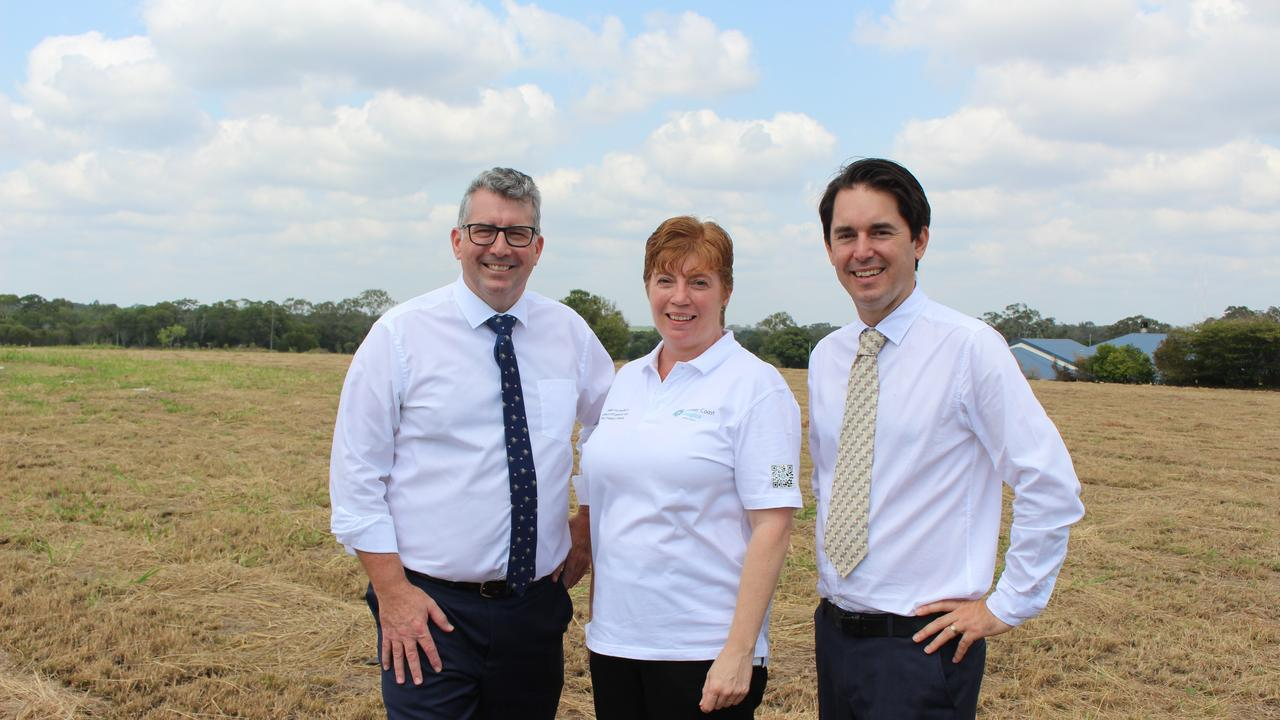 Federal Member for Hinkler Keith Pitt, Hervey Bay Hospice Association founder and secretary Jasine Leslie and Fraser Coast Mayor George Seymour on the site of the future Hervey Bay Hospice centre.