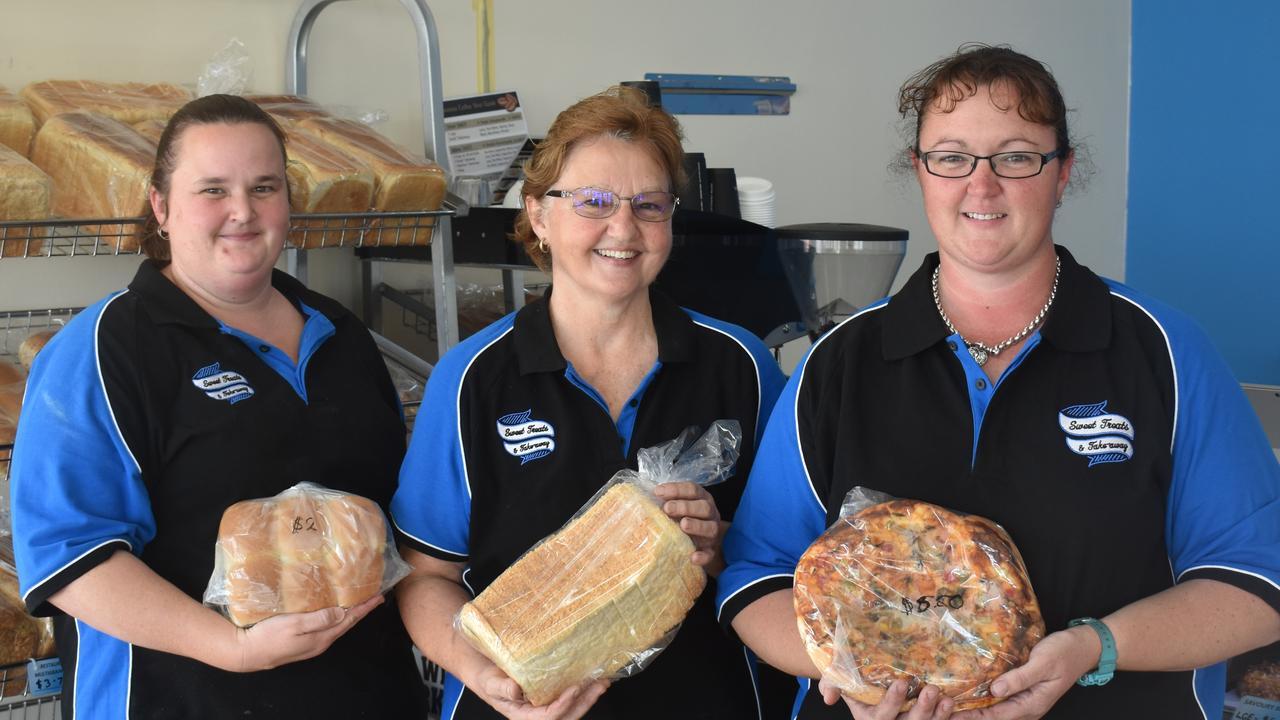Sweet Treats and Takeaway bakery team members Debbie-Sue Thompson and Debra Brown with owner Rebecca Sparkes.