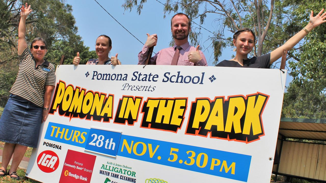 CELEBRATION: Pomona State School's Barbara Harch and Alyson Covey are joined by Bendigo Bank's Karl Doss and Ella Dawes as they prepare for Pomona in the Park on November 28.