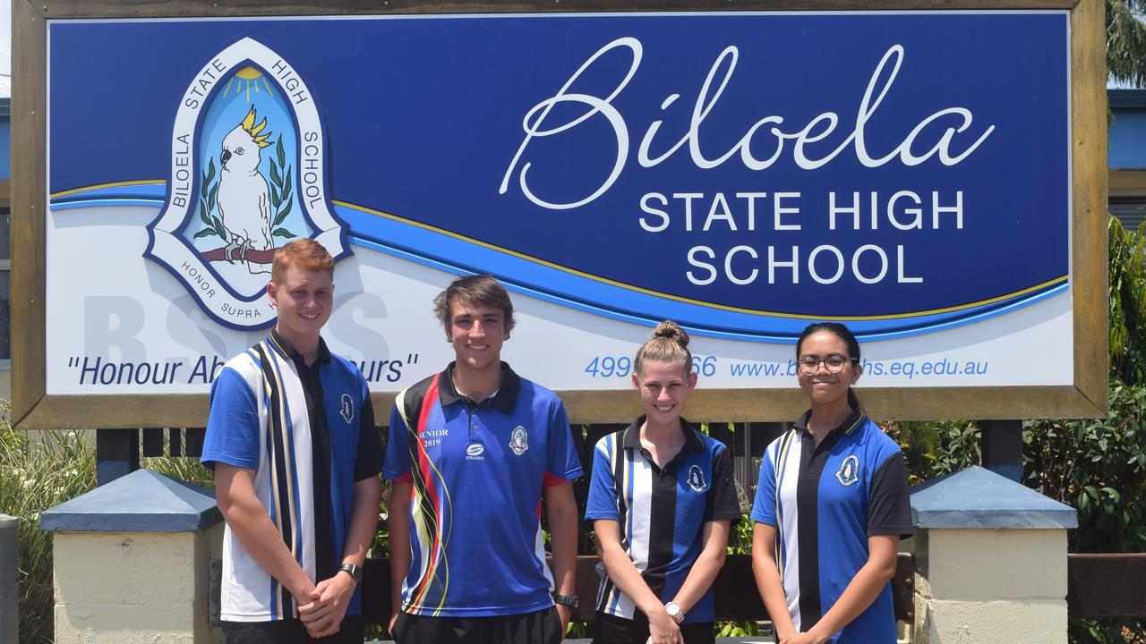 NEXT STEP: Biloela High School graduating students Matt Davidson, Stuart Arnold, Phoebe Georgiou and Arianna Travilla are excited for what the future holds.
