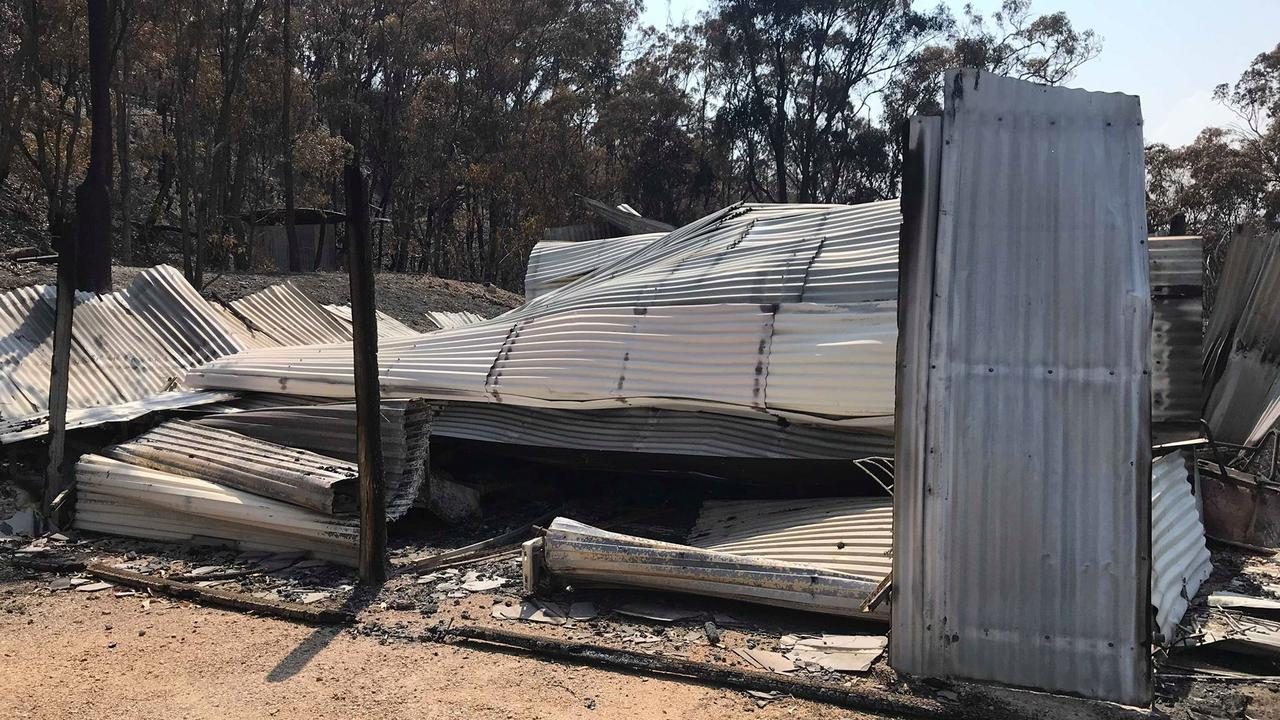 Petria and Greg Stack's shed which housed their caravan and the 4WD they got out in.