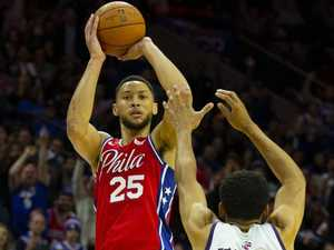 Simmons hits first career NBA three pointer