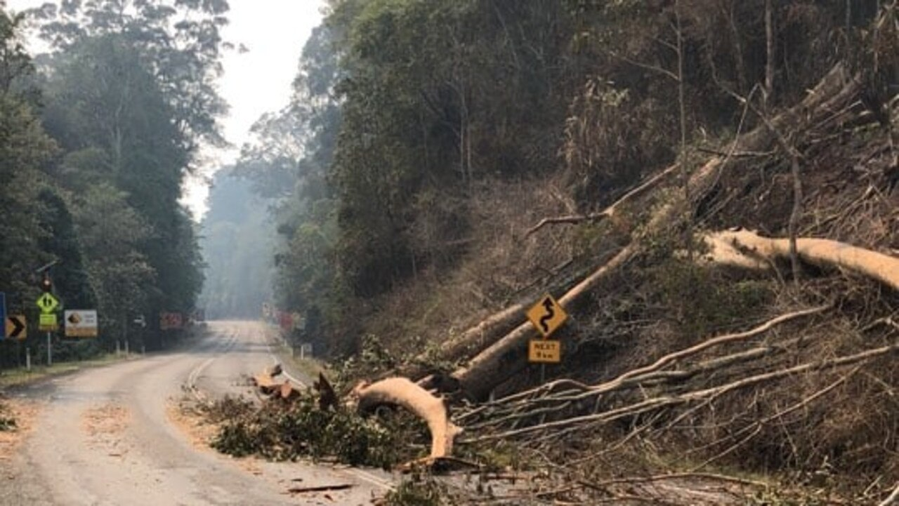 Photos of the Cunningham Highway through Cunninghams Gap from the Department of Transport and Main Roads show the damage done to the road which has caused its closure for the foreseeable future.