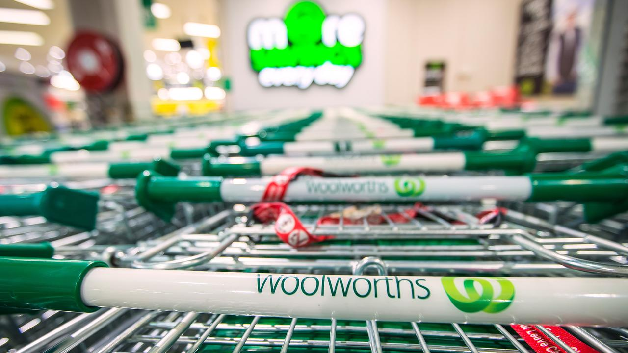 Woolworths has unveiled a new self-serve checkout for shoppers with trolleys. Picture: Ian Waldie/Bloomberg