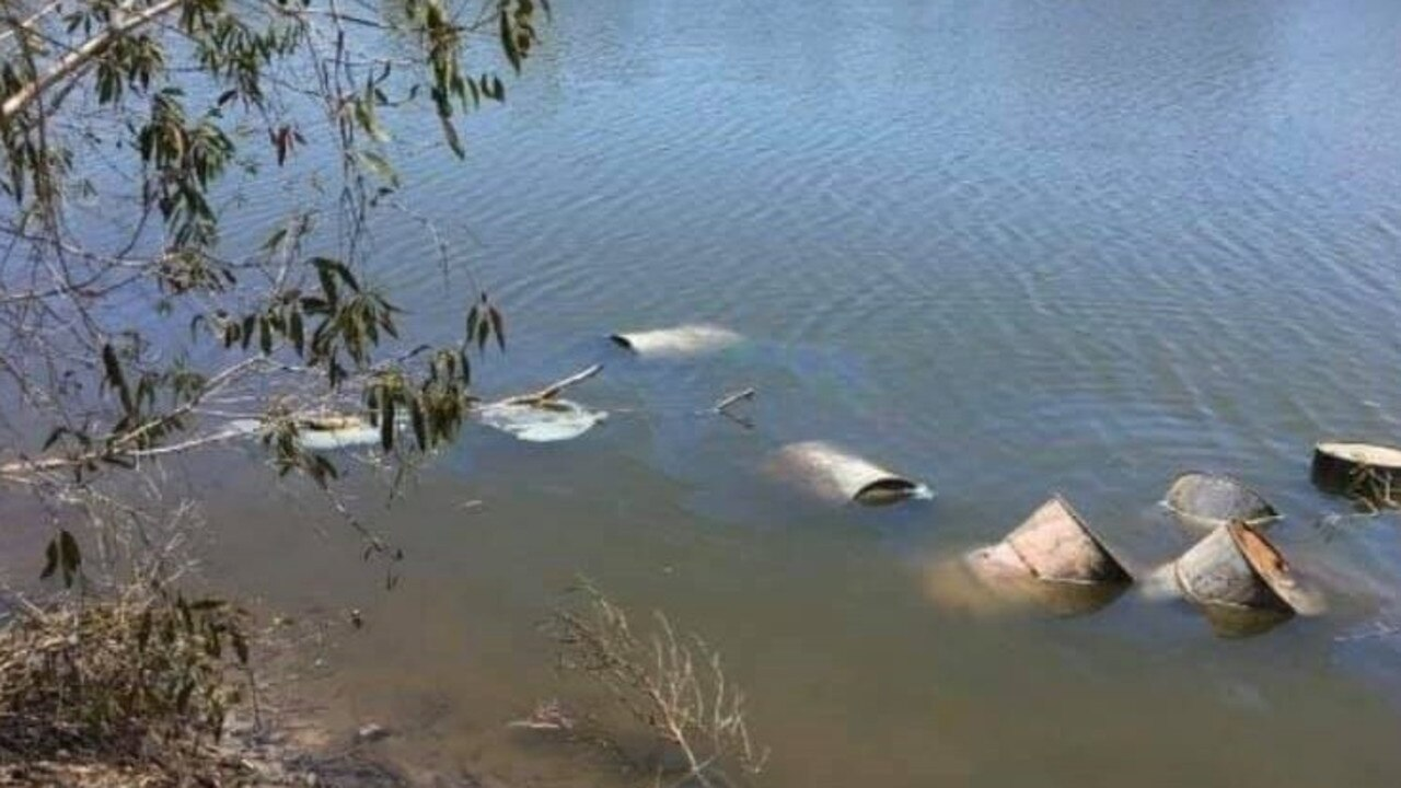 Nine drums of waste were found dumped in a tidal lagoon off Sandy Point Road near Yeppoon last month.