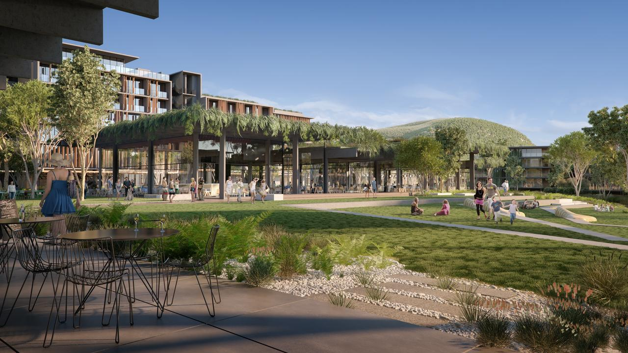 ARTIST IMPRESSIONS: Latest Images of Sekisui proposed development in Coolum, showing the view to Mount Coolum across the public park. Photo: Contributed