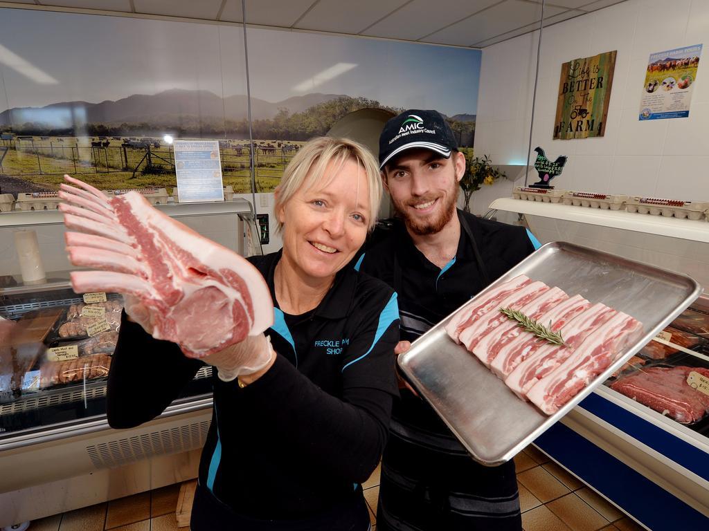 Freckle Farm shop owner Deb McLucas and butcher Tony Palmer-Field.