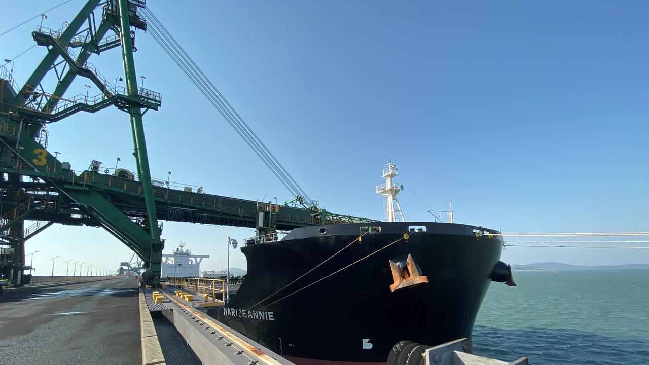 The MV Marijeannie at RG Tanna Coal Terminal loading Jellinbahs historic export.