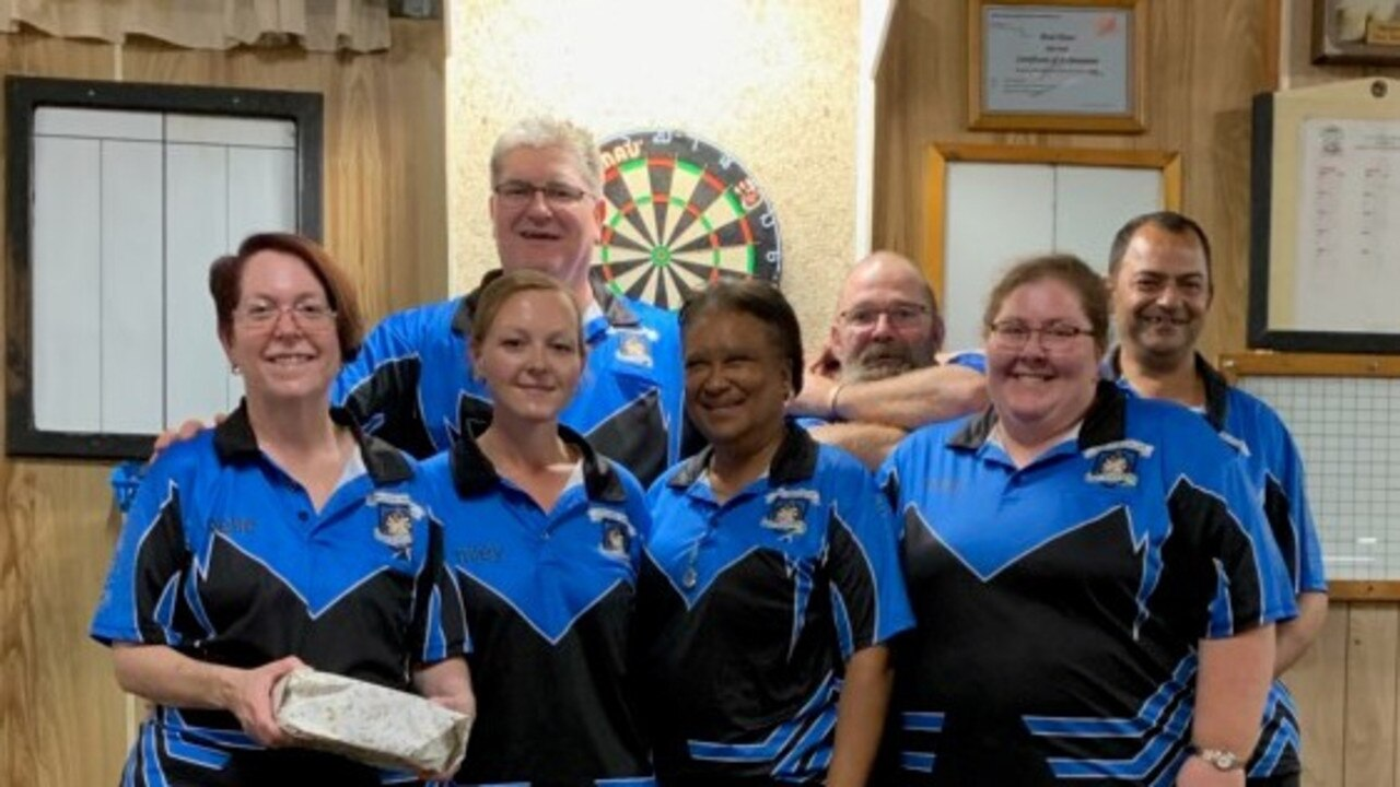 TRI-CITY CHAMPS: Narelle de Git, Racheal Jones, Simon de Git, Brenda McNeill, Pete Dwyer, Kelly Ruth and Dion McNeill from the Callide Valley District Darts Association.