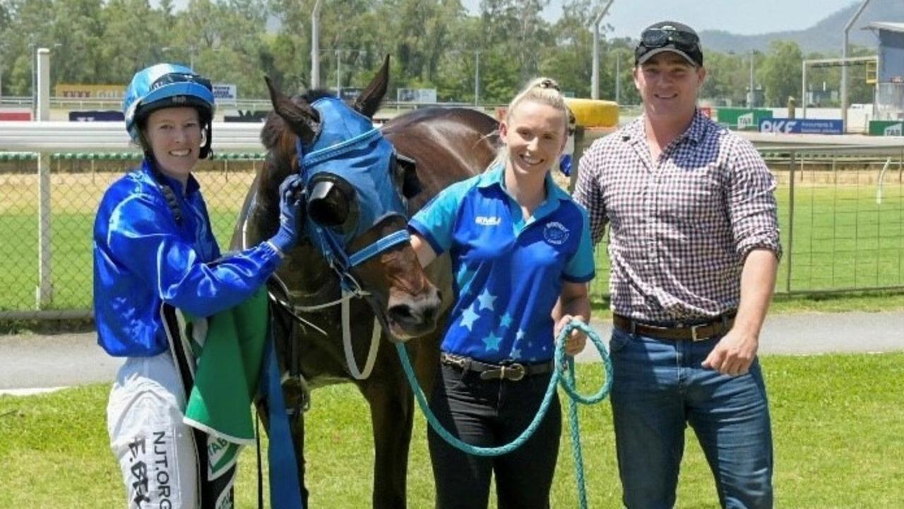 WINNER'S CIRCLE: Sweet Surprise and Emma Bell, Jade Doolan and Alex Hogwarth in the winner's enclosure after taking out race two on the program at last Sunday's Callaghan Park meeting in Rockhampton.