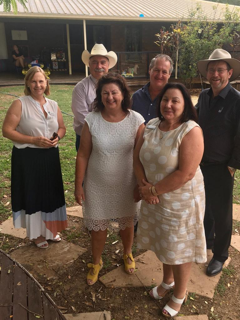 Isaac Region councillors, from left, Jane Pickels, Greg Austen, Mayor Anne Baker, Simon West, Lyn Jones and Planning, Environment and Community Services director Jeff Stewart-Harris at Glenden Childcare Centre. Picture: Contributed