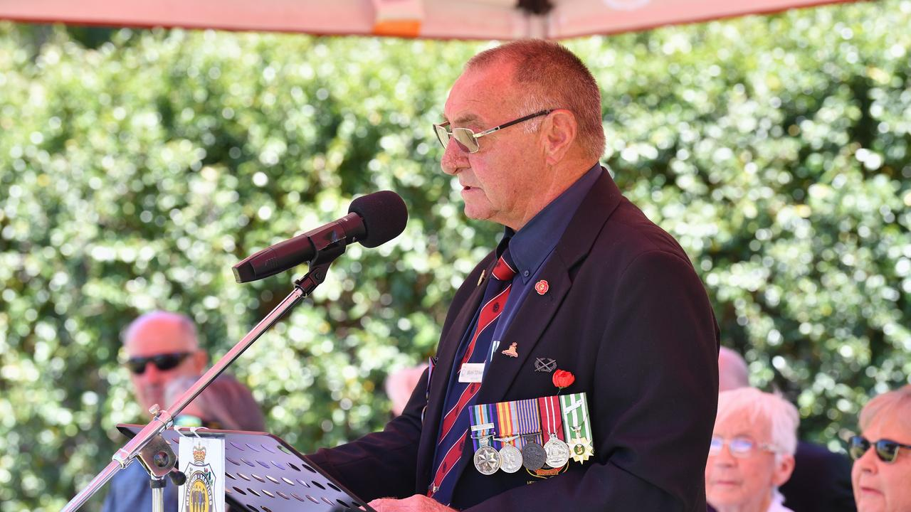 President of Hervey Bay RSL Sub-Branch Brian Tidyman speaking at Remembrance Day at Hervey Bay.