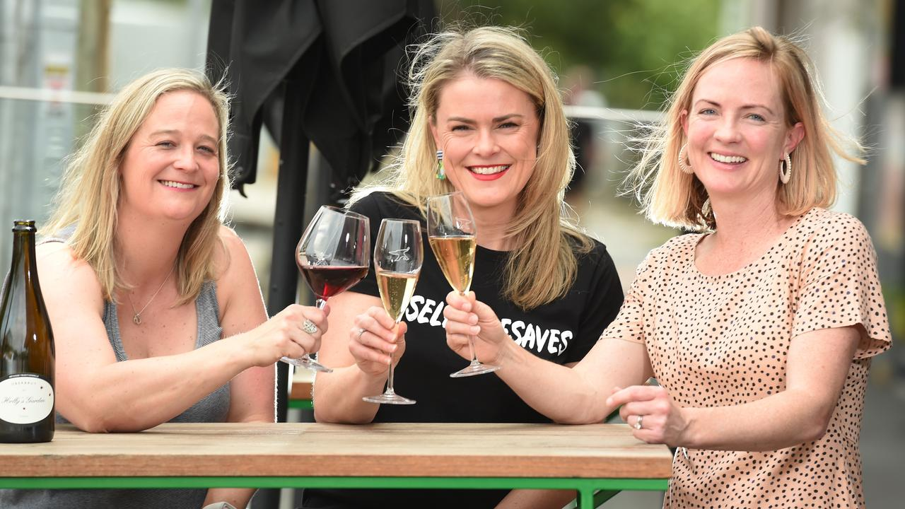 Elissa Bracy, Lauren Oliver and Kate Crawford are part of a wine social group. Picture: Tony Gough