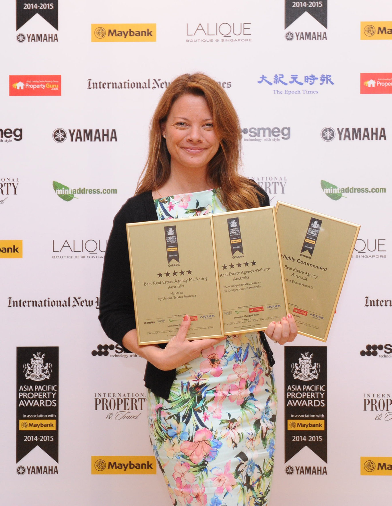Unique Estates Company Director Nicolette van Wijngaarden received awards for best real estate agency marketing in Australia and best real estate agency website in Australia at the prestigious Asia Pacific Property Awards in Kuala Lumpur. Photo Contributed