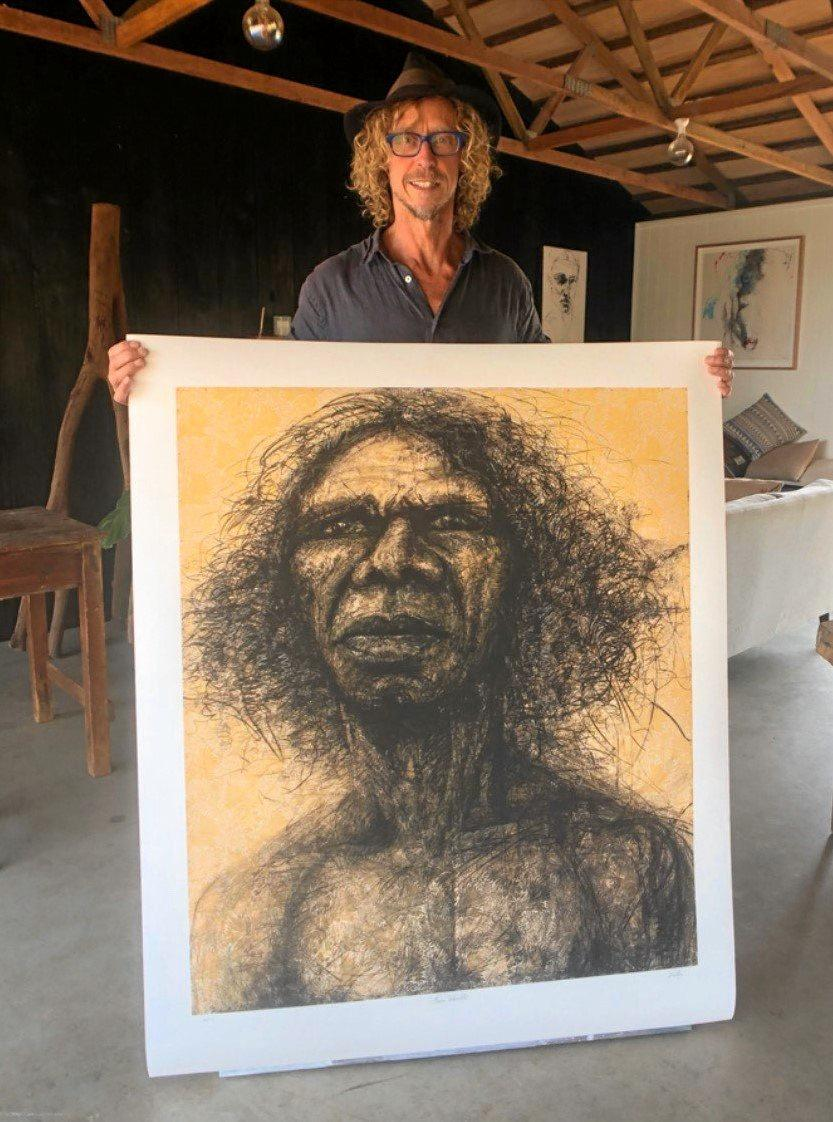 ICONIC IMAGE: Byron Shire artists Craig Ruddy with his 2004 Archibald Prize and People Choice-winning artwork Two Worlds.