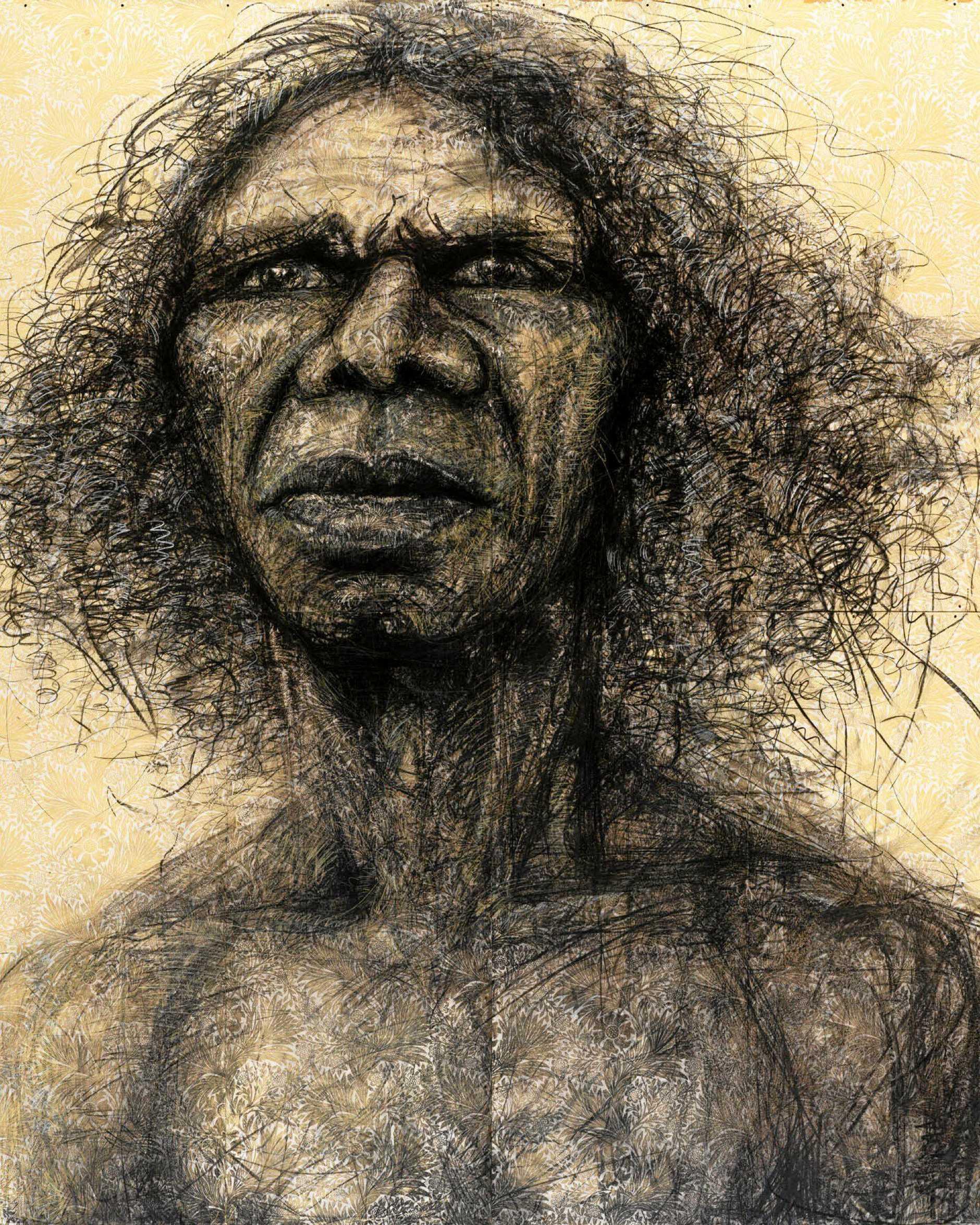 ARTWORK: Craig Ruddy's 2004 Archibald Prize and People Choice-winning artwork, Two Worlds, a portrait of Yolngu traditional dancer and actor David Gulpilil Ridjimiraril Dalaithngu AM..