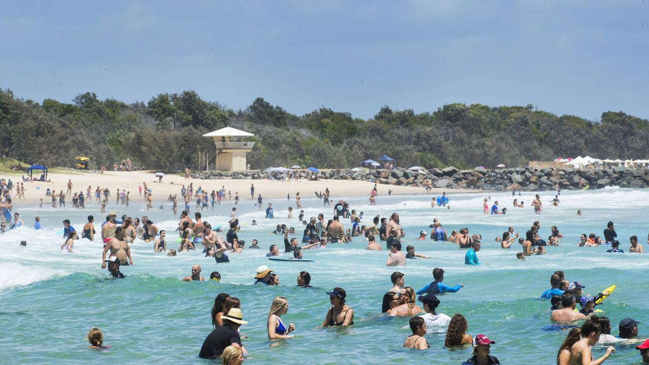 Holiday Crowds at Main Beach. Photo Lachie Millard