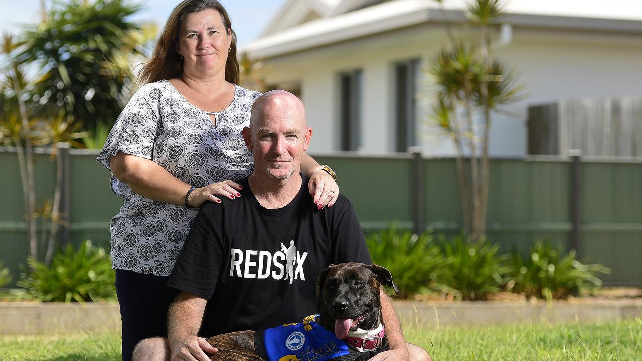 Army veteran Nathan Cooper with wife Leah and dog Princess. PICTURE: MATT TAYLOR.