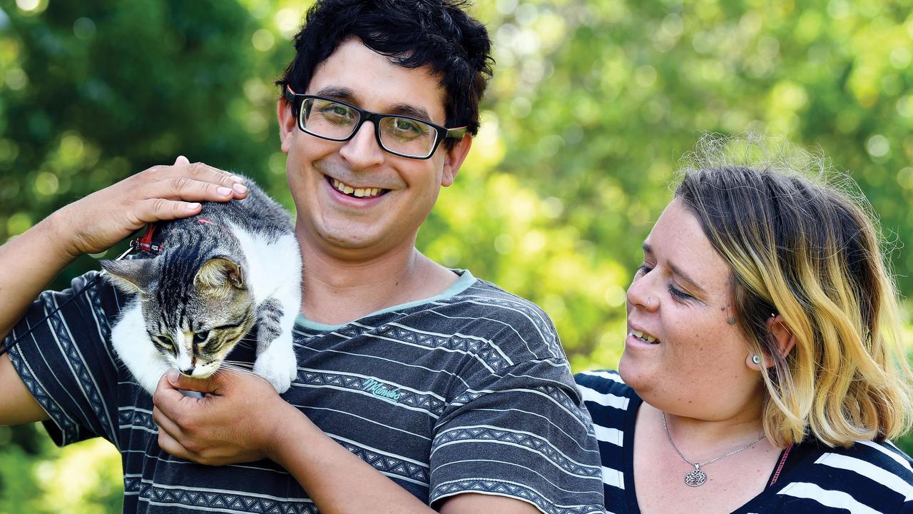 Nicolas Capone and Natalie Weston with Ninja their cat.
