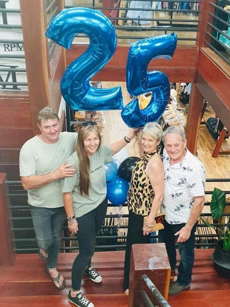 Chris and Dianne Allen, Evie Higgins and Geoff (Pimmy) Pimm celebrate Last Wave's 25th birthday