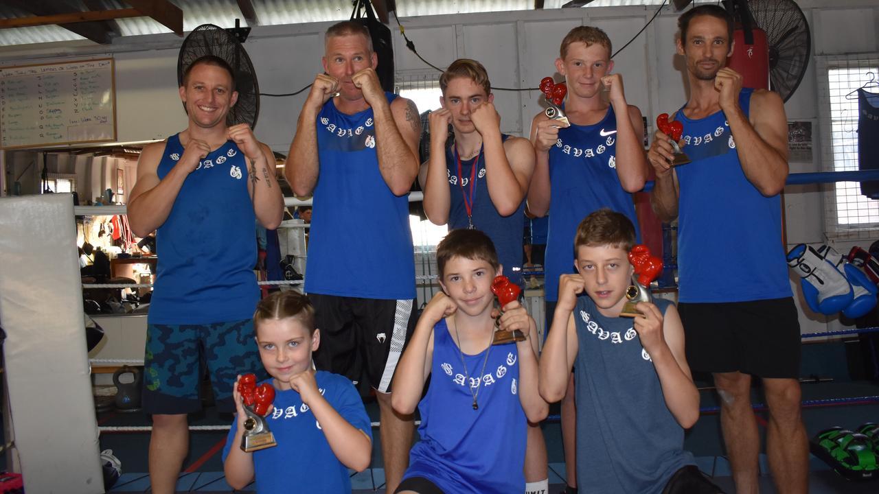 Savage Boxing – (back, from left) Tom Daunt, Paul Davison, Koby Jenkins, Will Kipping and Will Lloyd. (front) Rani Cross, Brodi Adams and Braythe Wagenknecht.
