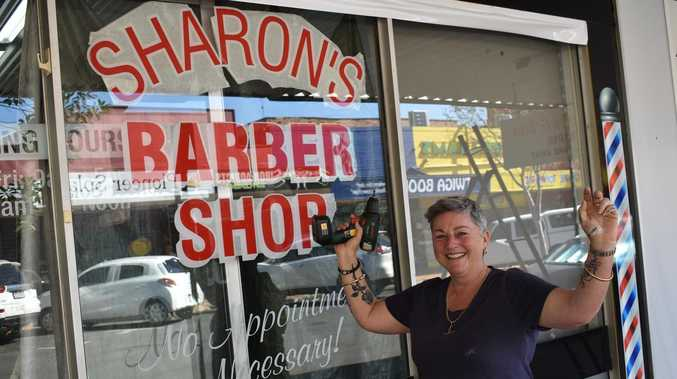 Barber shop Sharon heads up the street to her own premises
