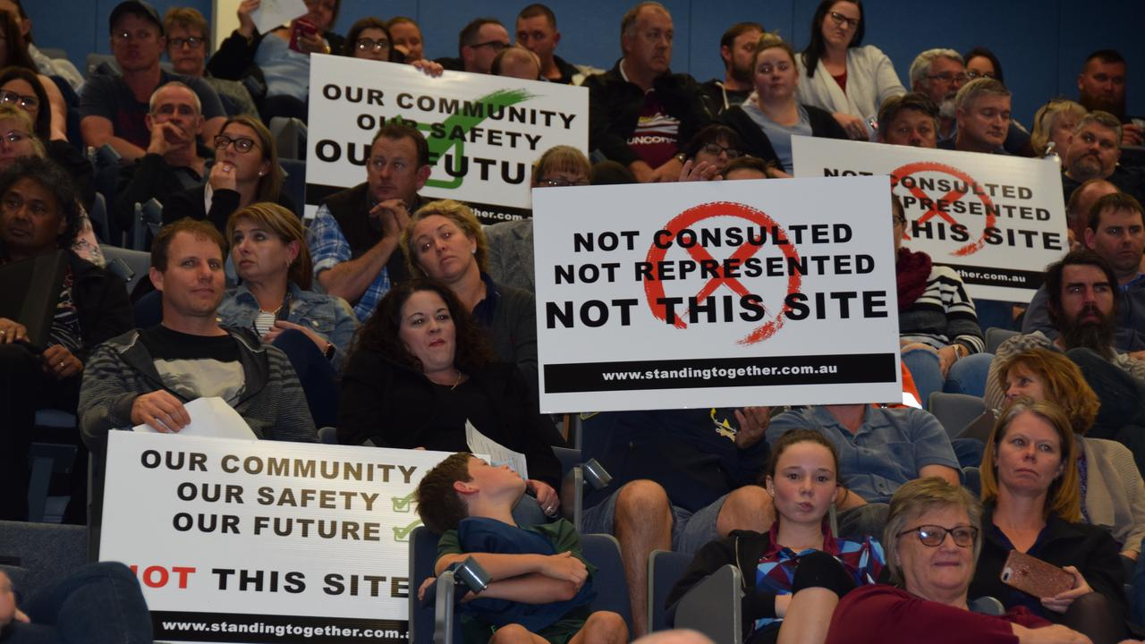 ROCKY REHAB: Residents protest the proposed location the facility.