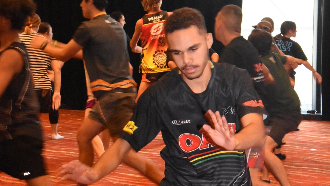 Jamal Laurie of South Grafton High was catching the routine as the Aboriginal Dance Company rehearsed at Sydney Olympic Park Arena.