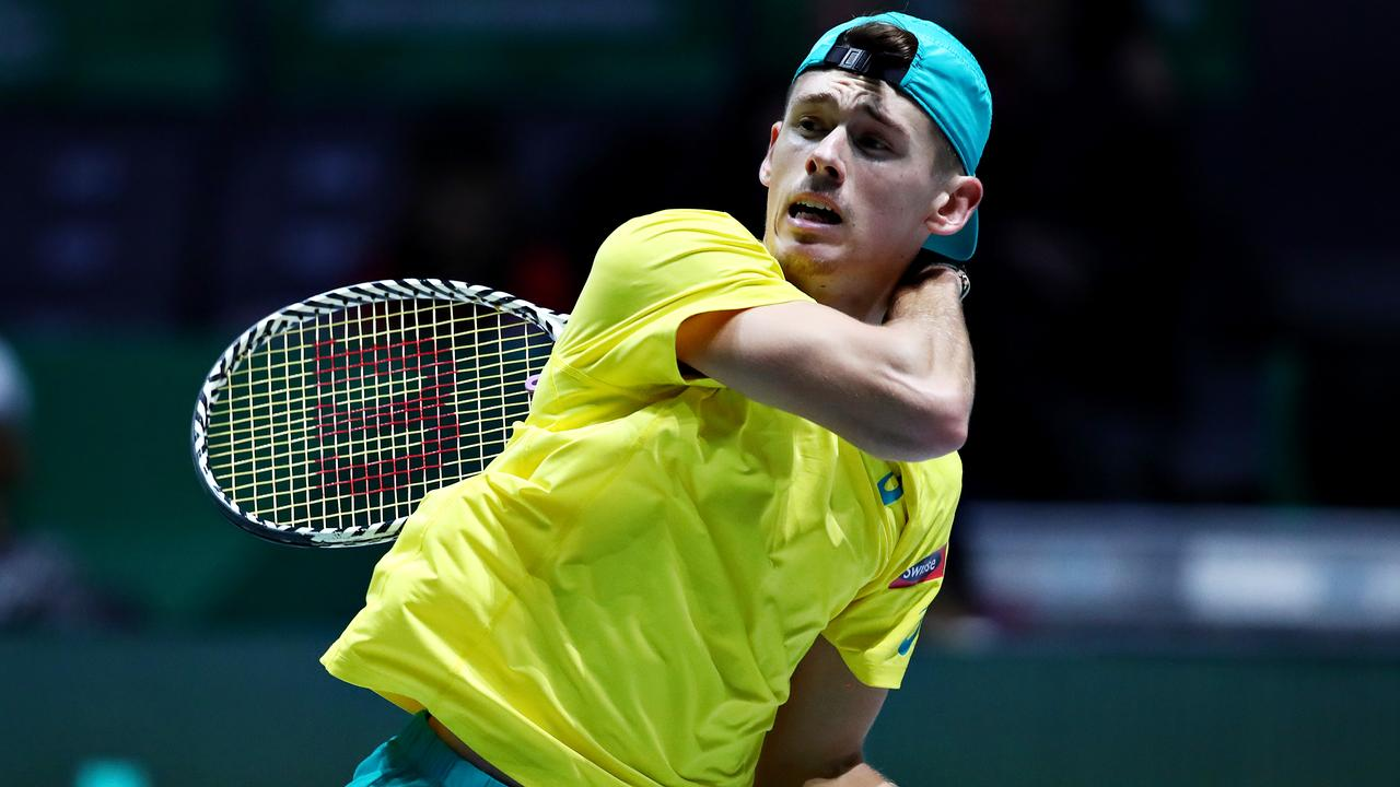 MADRID, SPAIN - NOVEMBER 21: Alex De Minaur of Australia plays a shot in his quarter final singles match against Denis Shapovalov of Canada during Day Four of the 2019 Davis Cup at La Caja Magica on November 21, 2019 in Madrid, Spain. (Photo by Clive Brunskill/Getty Images)
