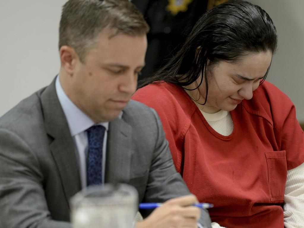 Amanda Ramirez of Camden, becomes emotional in Camden County Superior Court before Judge Edward McBride. Picture: AP