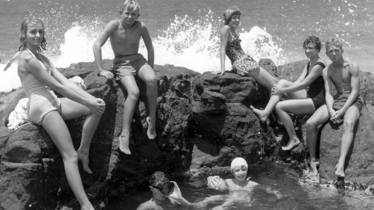 Young holiday-makers at the Mermaid Pool, Coolum Beach, December 1952. Picture: Contributed