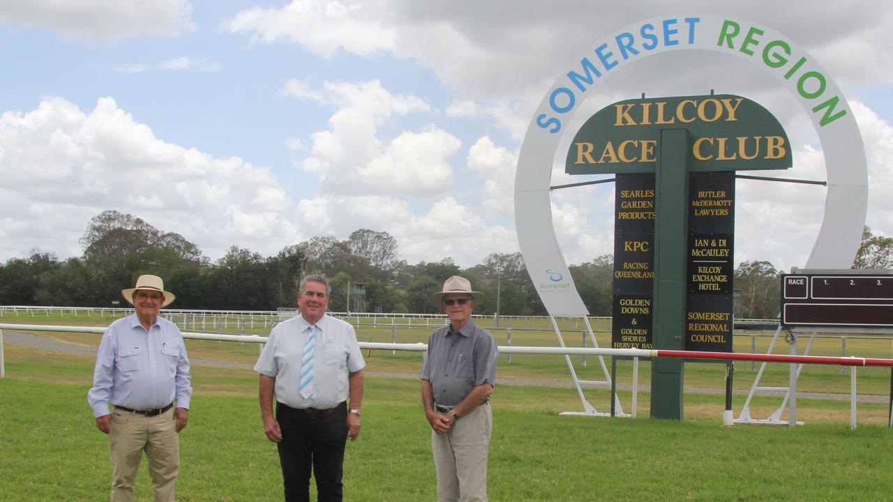 Kilcoy Race Club president Con Searle, Somerset Mayor Graeme Lehmann and Kilcoy Race Club vice-president Ian McCauley near the new Kilcoy Racecourse finish post, one of the additions installed last year.