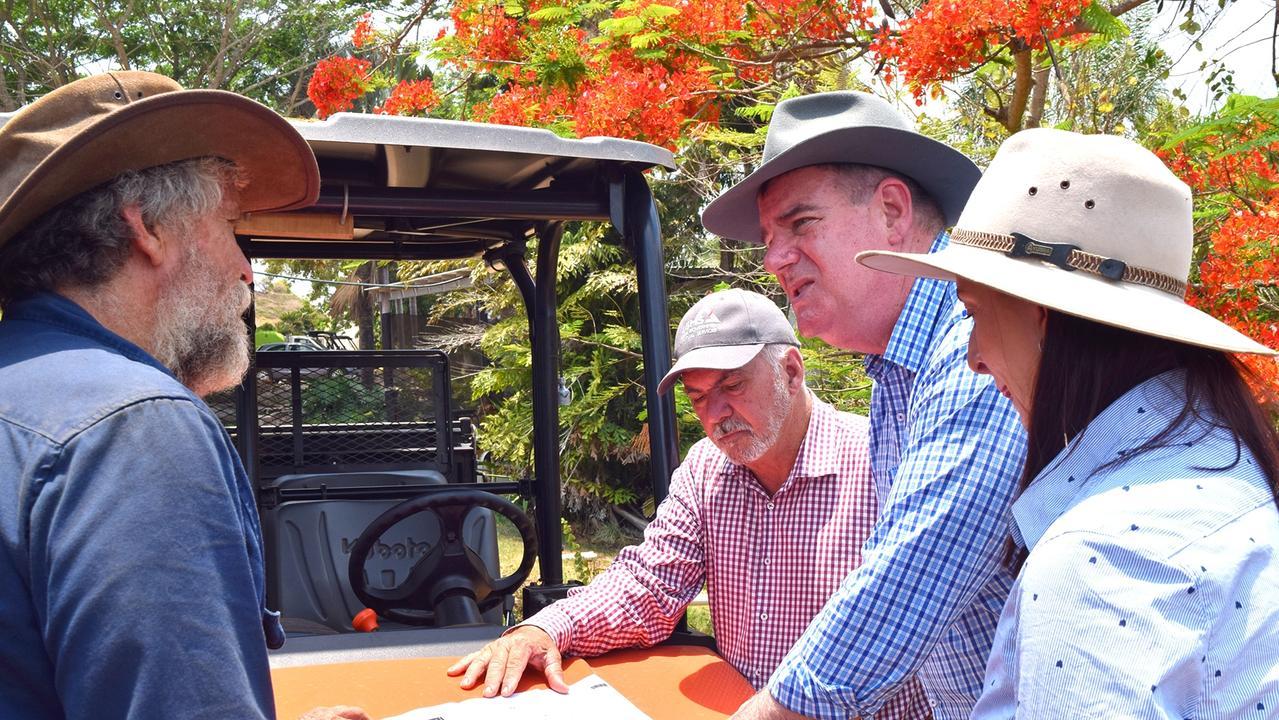 Minister Mark Furner (middle right) visits Livingstone Shire bushfire victims.